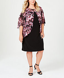Connected Plus Size Printed Chiffon-Cape Dress