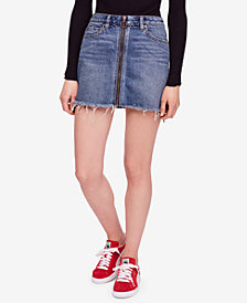 Free People Cotton Denim Zip-Front Skirt