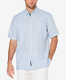 Cubavera Mens Linen Mini Houndstooth Shirt