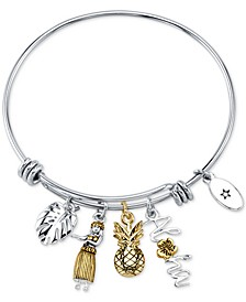 """Aloha"" Charm Adjustable Bangle Bracelet in Gold-Tone & Stainless Steel"