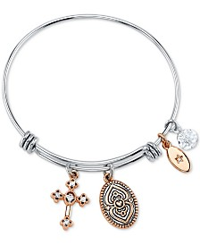 "Unwritten ""Faith Can Move Mountains"" Adjustable Cross Charm Bangle Bracelet in Rose Gold-Tone & Stainless Steel"