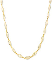 "Cubic Zirconia Mesh Link 18"" Collar Necklace in 14k Gold"
