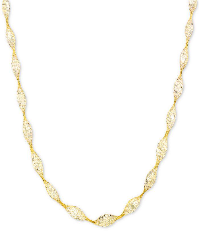 "Italian Gold - Cubic Zirconia Mesh Link 18"" Collar Necklace in 14k Gold"