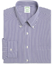 Brooks Brothers Men's Milano Extra-Slim Fit Non-Iron Broadcloth Blue Bengal Stripe Dress Shirt