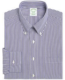 Brooks Brothers Men's Milano Extra-Slim Fit Non-Iron Broadcloth Blue Bengal Stripe Dress Shirt