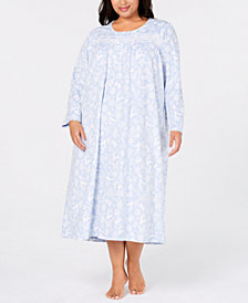 Charter Club Plus Size Printed Fleece Nightgown, Created for Macy's