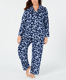 Charter Club Plus Size Printed Fleece Pajama Set, Created for Macy's