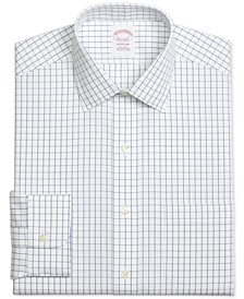 Men's Madison Classic/Regular Fit Non-Iron Windowpane Blue Dress Shirt