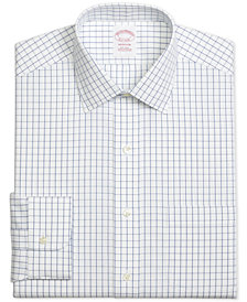 Brooks Brothers Men's Madison Classic/Regular Fit Non-Iron Windowpane Blue Dress Shirt