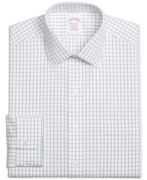 Brooks Brothers Men's Madison Classic/Regular Fit Non-Iron Windowpane Blue Dress Shirt