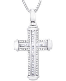 "Diamond Cross 22"" Pendant Necklace (1 ct. t.w.) in Sterling Silver"