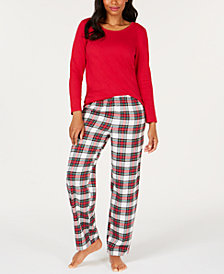 Matching Family Pajamas Women's Stewart Plaid Pajama Set, Created for Macy's
