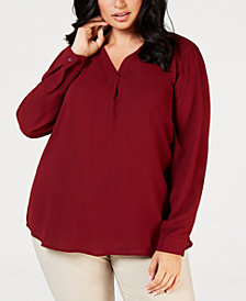 Nine West Plus Size V-Neck Woven Blouse