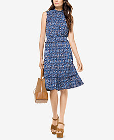 MICHAEL Michael Kors Smocked Paisley-Print Dress