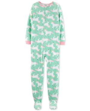 Carters Little  Big Girls Fleeced UnicornPrint Footed Pajamas