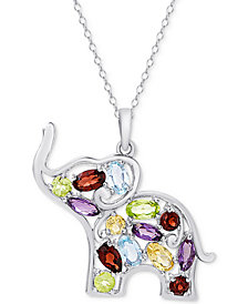 "Multi-Gemstone Openwork Elephant 18"" Pendant Necklace (2-5/8 ct. t.w.) in Sterling Silver"