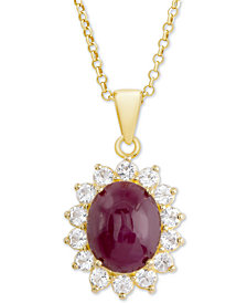 "Ruby (3 ct. t.w.) & White Topaz (5/8 ct. t.w.) 18"" Pendant Necklace in 14k Gold-Plated Sterling Silver"