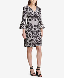 DKNY Bell-Sleeve Printed Dress, Created for Macy's