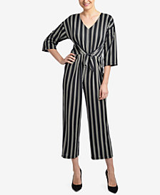 NY Collection Striped Cropped Jumpsuit
