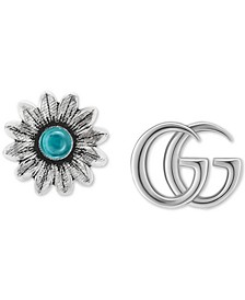 Blue Topaz Mismatch Logo & Flower Stud Earrings in Sterling Silver