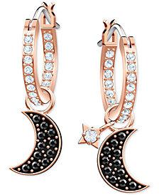 """Swarovski Two-Tone Crystal Moon & Star 3/4"""" Hoop Earrings"""