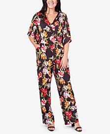 Printed Surplice Kimono Jumpsuit