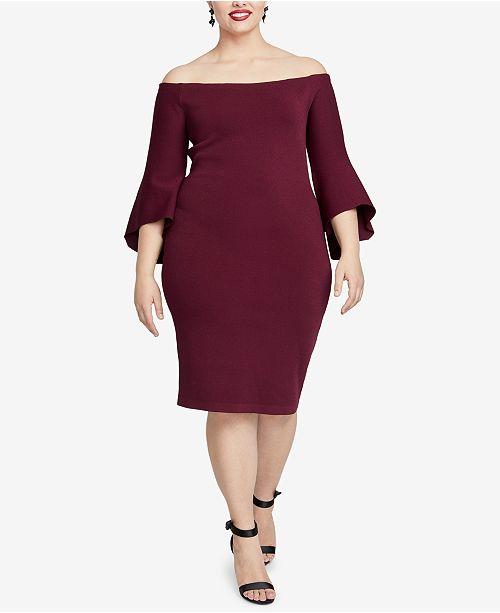 83e1261d40a RACHEL Rachel Roy Plus Size Off-The-Shoulder Sweater Dress   Reviews ...