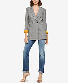 BCBGMAXAZRIA Double-Breasted Plaid Blazer