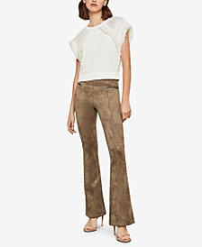 BCBGMAXAZRIA Faux-Suede Flared Leggings
