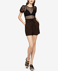 BCBGeneration Lace Puff-Sleeve Bodysuit