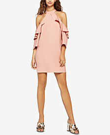 BCBGeneration Ruffled Cold-Shoulder Dress