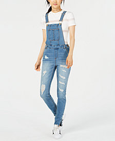 Dollhouse Juniors' Ripped Skinny Denim Overalls