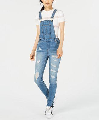 Dollhouse Juniors Ripped Skinny Denim Overalls Jeans Juniors