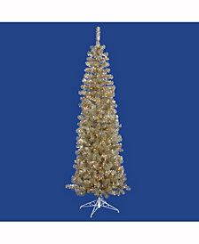 7.5' Champagne Pencil Artificial Christmas Tree with 400 Warm White LED Lights