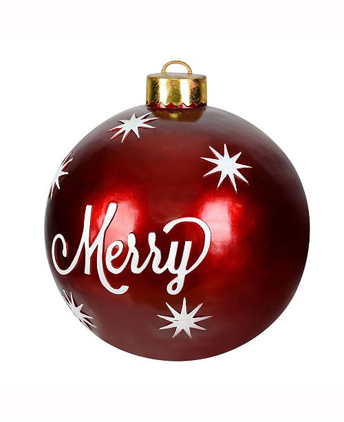 vickerman 26 decorative red ornaments featuring the words merry