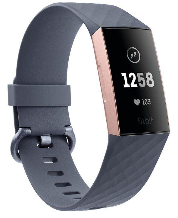 Fitbit Charge 3 Unisex Blue-Gray Elastomer Band Touchscreen Smart Watch 22.7mm