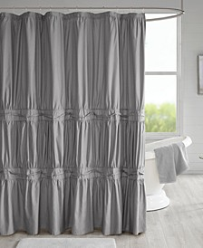 "Ciera 72"" x 72"" Solid Ruched Shower Curtain with Lining"