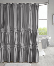 "510 Design Ciera 72"" x 72"" Solid Ruched Shower Curtain with Lining"