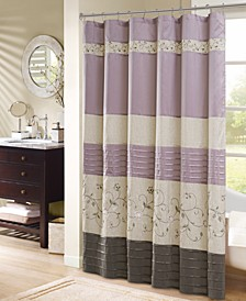 """Serene 72"""" x 72"""" Faux Silk Embroidered Floral Shower Curtain"""