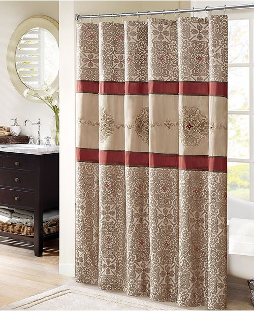 """Madison Park Donovan 72"""" X 72"""" Embroidered Shower Curtain"""