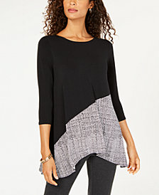 Alfani Petite 3/4-Sleeve Contrast Top, Created for Macy's