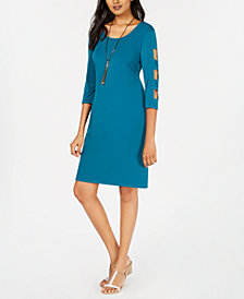JM Collection Petite Lattice-Sleeve Shift Dress, Created for Macy's