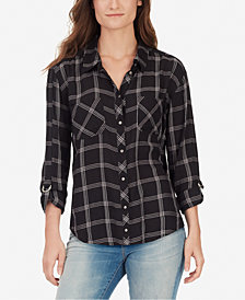 WILLIAM RAST Carina Plaid Roll-Slleeve Shirt