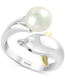 EFFY® Cultured Freshwater Pearl (8mm) & Diamond Accent Dolphin Ring in Sterling Silver & 14k Gold