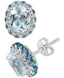 Blue Topaz (4-1/2 ct. t.w.) & White Topaz (1/4 ct. t.w.) Earrings in Sterling Silver