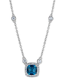 """Blue Topaz (1 ct. t.w.) & White Topaz (1/3 ct. t.w.) 18"""" Pendant Necklace in Sterling Silver"""