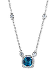 "Blue Topaz (1 ct. t.w.) & White Topaz (1/3 ct. t.w.) 18"" Pendant Necklace in Sterling Silver"