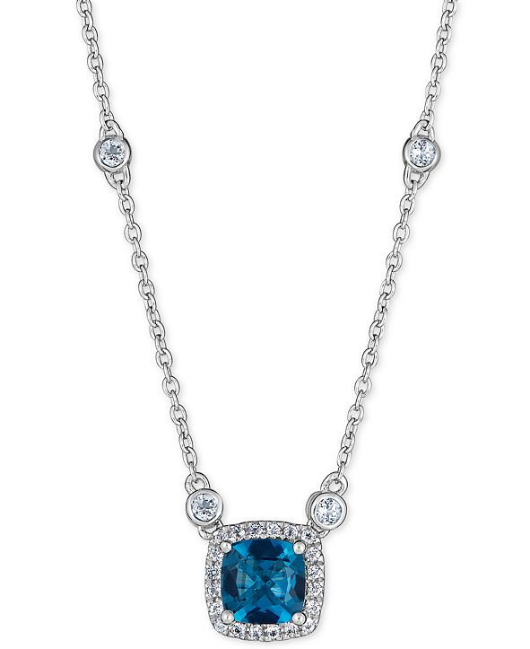"Macy's Blue Topaz (1 ct. t.w.) & White Topaz (1/3 ct. t.w.) 18"" Pendant Necklace in Sterling Silver"