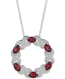 "Blue Topaz (3 ct.t.w) & Diamond Accent 18"" Pendant Necklace in Sterling Silver (Also Available in Amethyst, Rhodolite Garnet & Multi-Gemstone)"