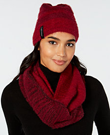 Calvin Klein 2-Pc. Colorblocked Fuzzy Scarf & Hat Set